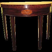 Antique Georgian Mahogany Demilune Game Table Circa 1790
