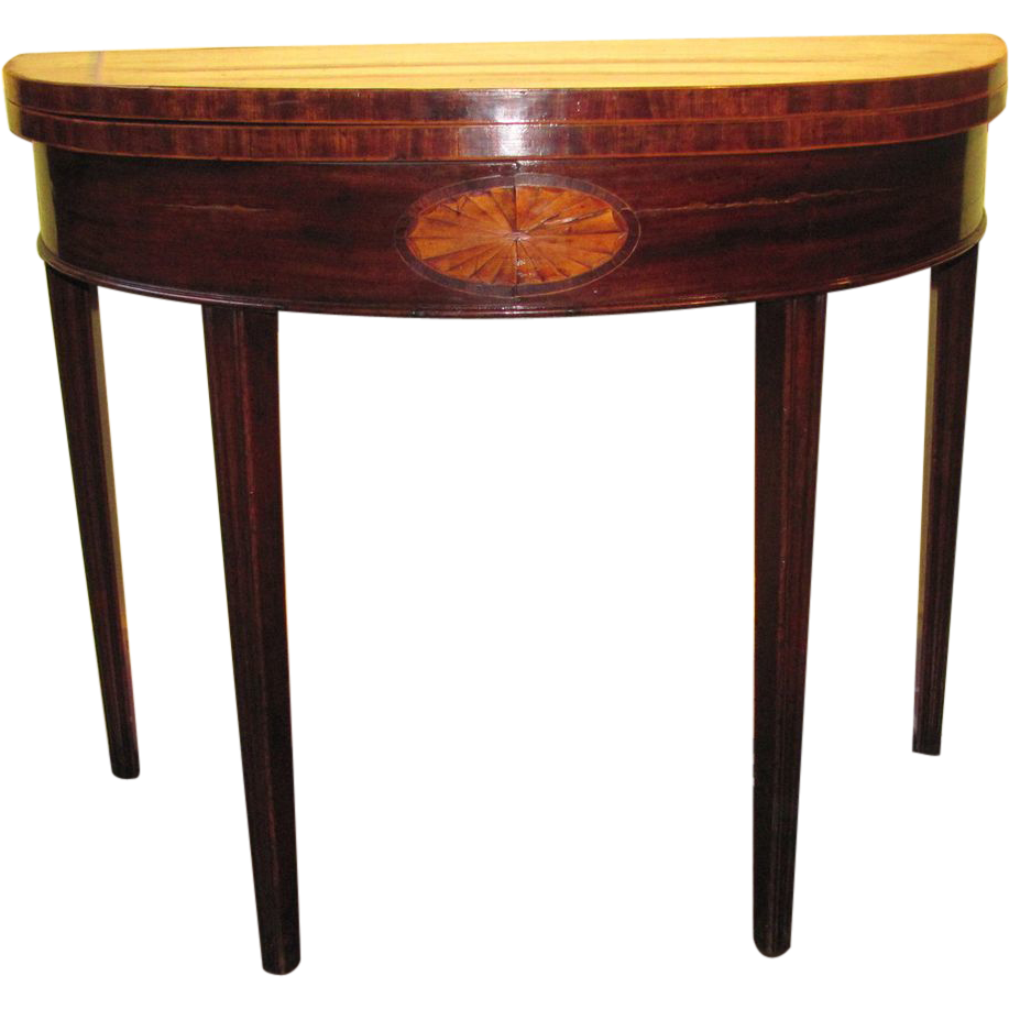 Antique Georgian Mahogany Demilune Game Table Circa 1790