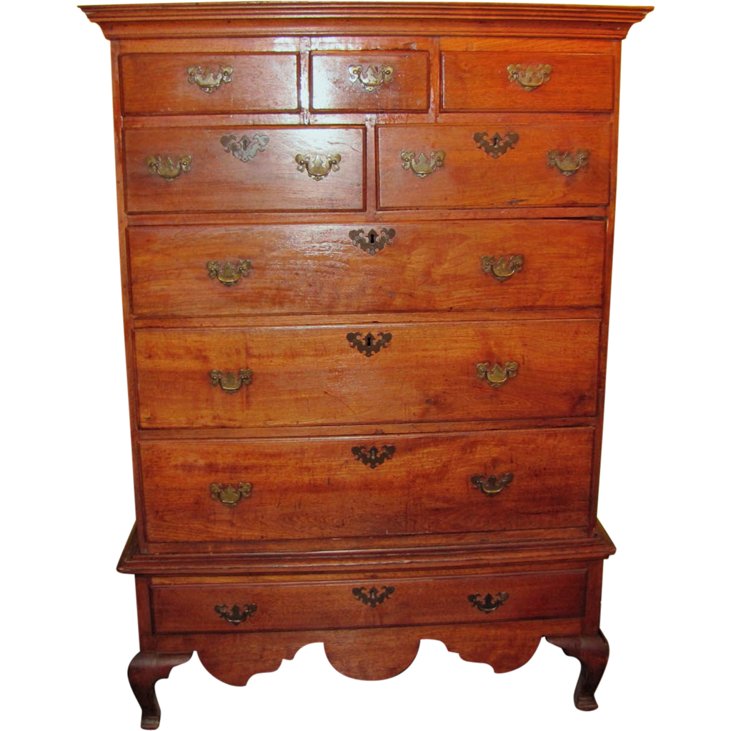 Antique American Walnut Queen Anne Chest on Frame Circa 1750