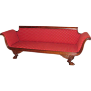 Antique American Federal Mahogany Empire Style Sofa Circa 1820