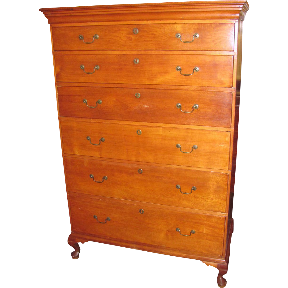 Antique American Queen Anne Maple Tall Chest of Drawers Circa 1790