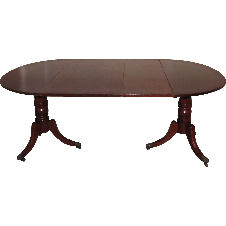 Antique English Regency Mahogany Double Pedestal Dining Table Circa 1820