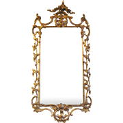 Pair Antique Chippendale Style Gilt Mirrors Circa 1870