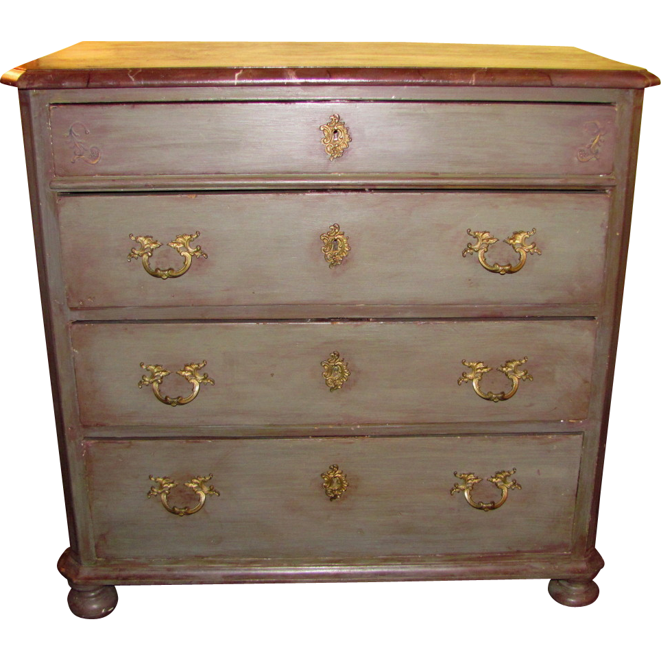 Antique Continental Pine Painted Chest of Drawers Circa 1860