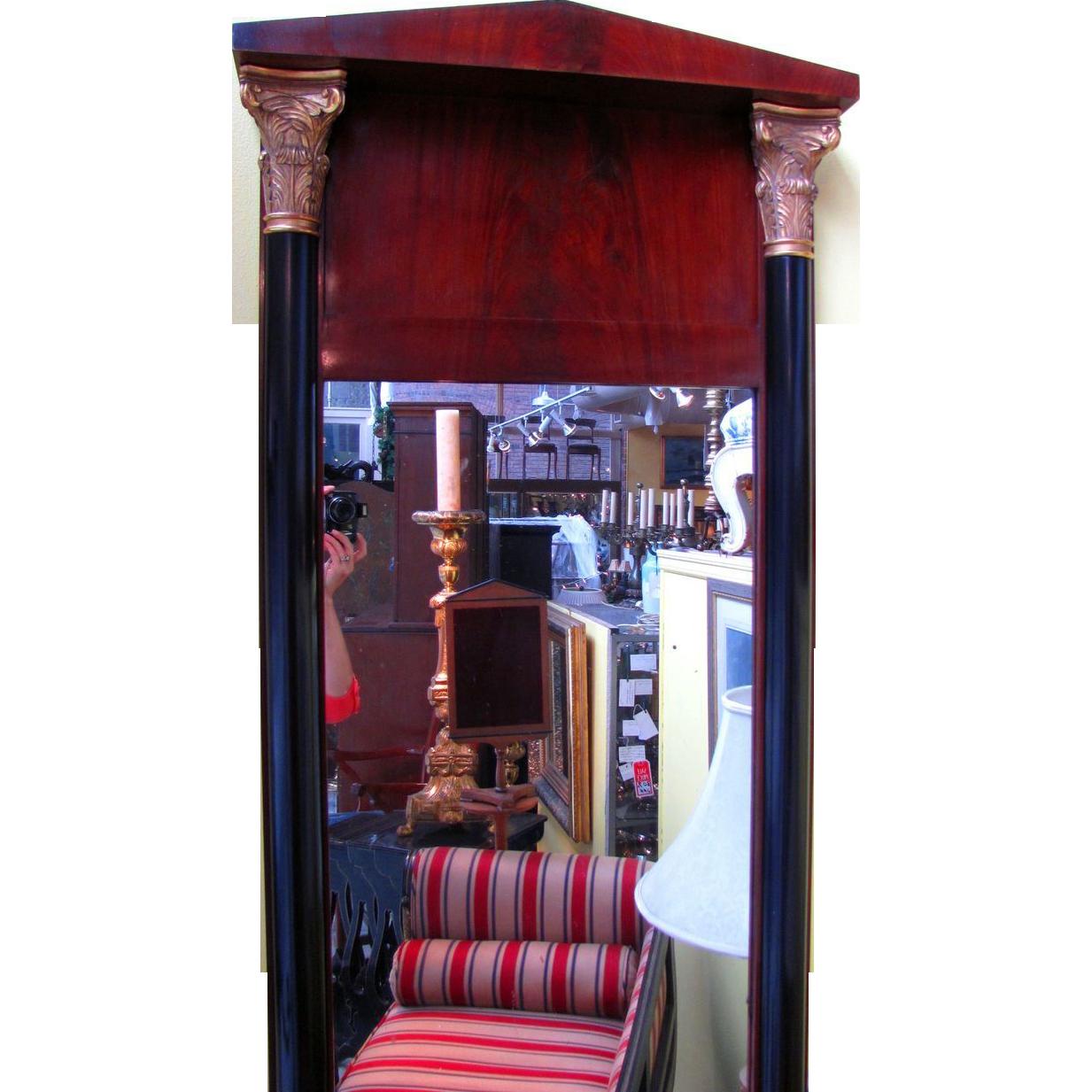 Antique Mahogany Biedermeier Pier Mirror Circa 1825