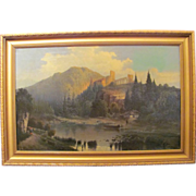 Antique Oil on Canvas Painting Barbizon School Circa 1900