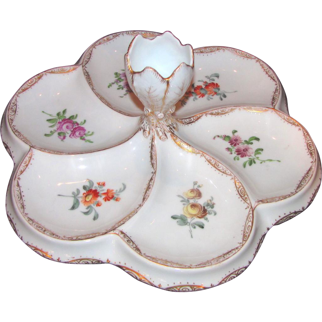 Antique Dresden Porcelain Hand Painted Condiment Dish Late 19th Century