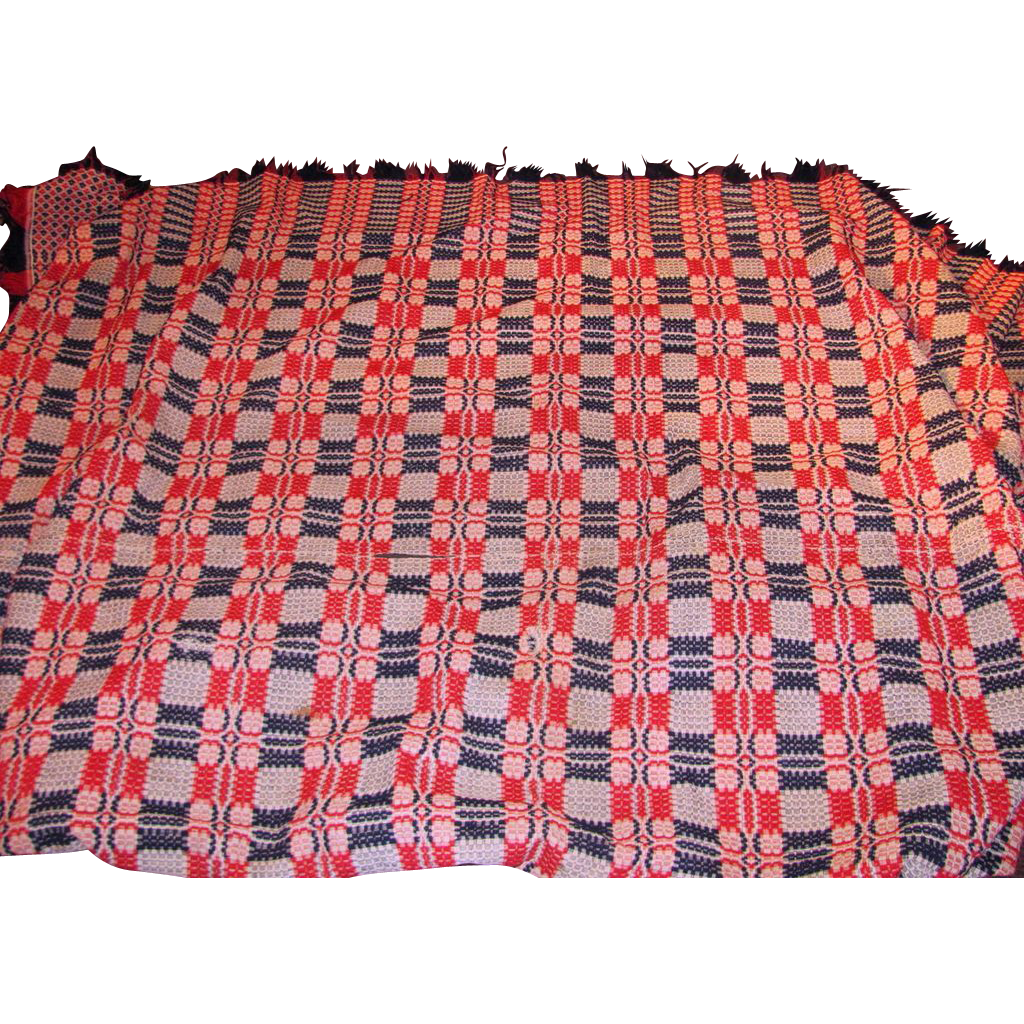 Antique American Homespun Wool Coverlet Circa 1850