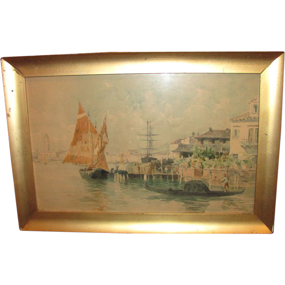 Paolo Sala Signed Watercolor Painting Milan Circa 1900