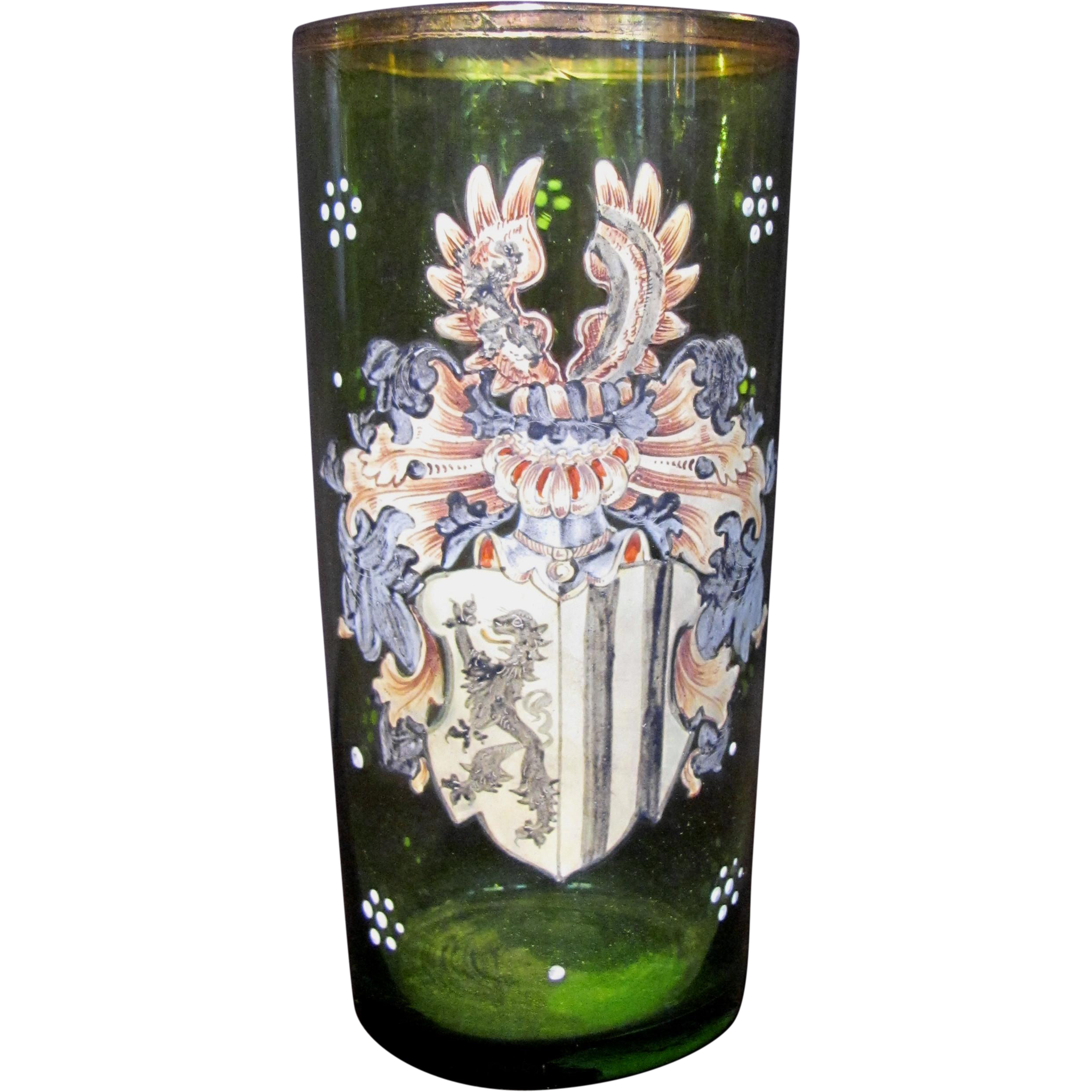 Antique Continental European Enamelled Glass Circa 1900