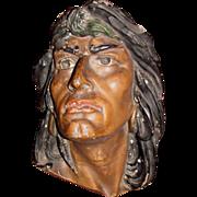 Antique American Folk Art Chalkware Indian Head Bust Circa 1900