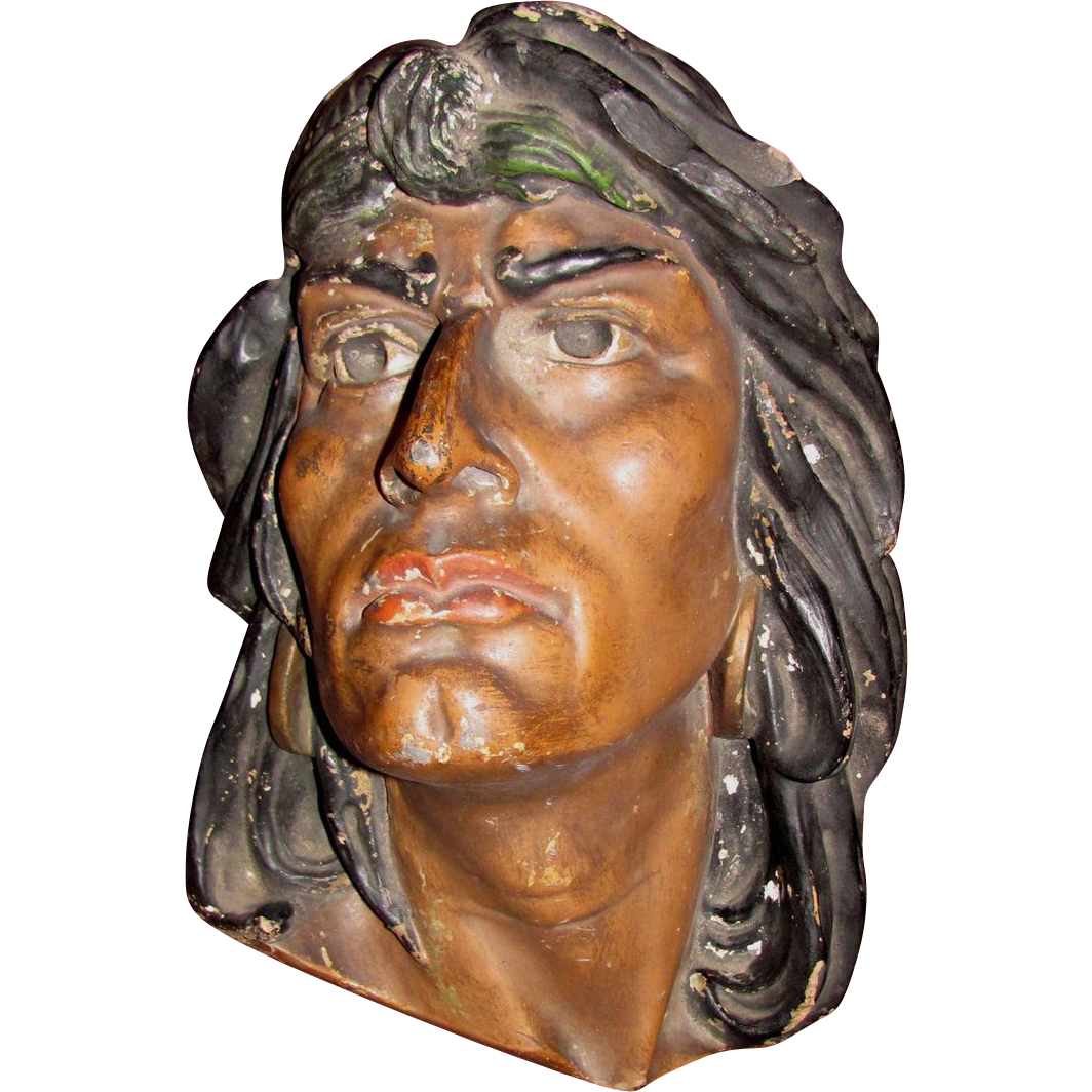 Antique American Folk Art Chalkware Indian Head Bust Circa 1900