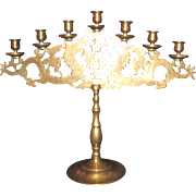 Antique Chinese Brass Candelabra Circa 1900