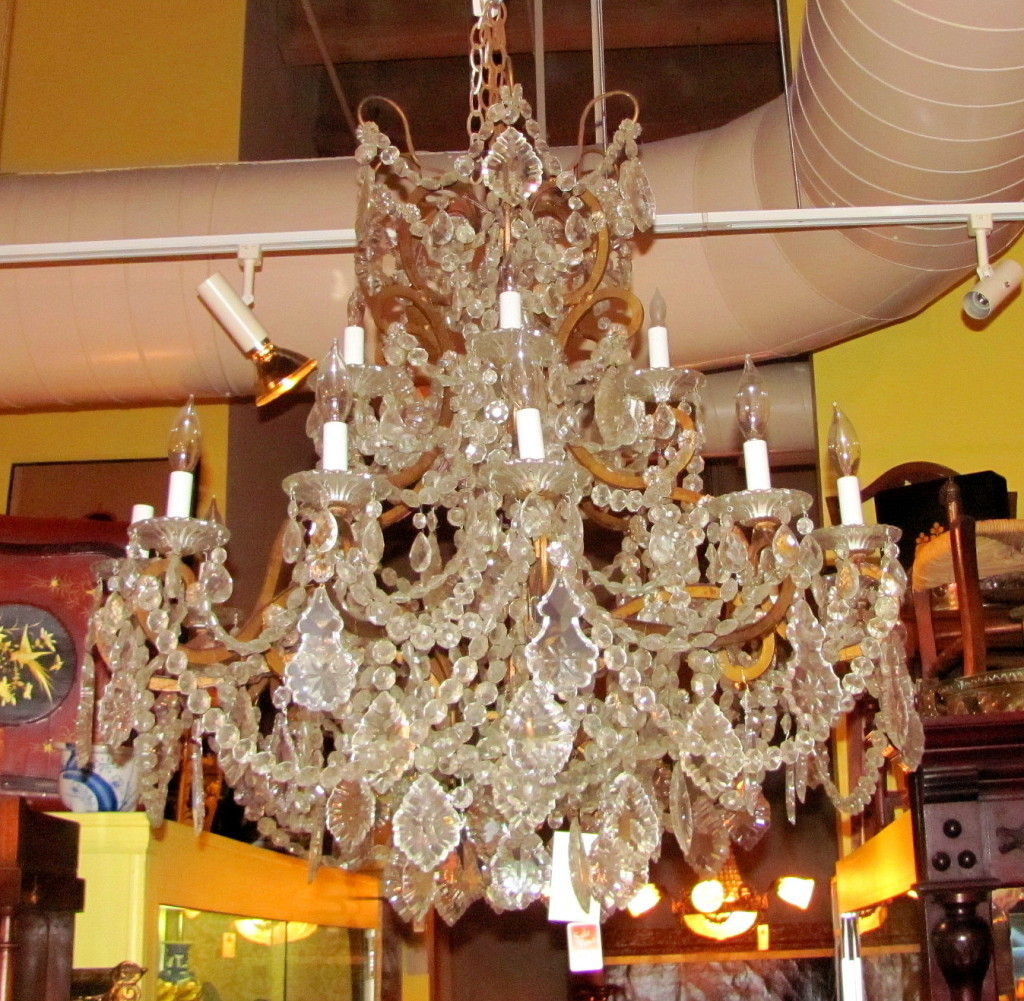 Roll over Large image to magnify, click Large image to zoom - Large Antique European Crystal Chandelier Circa 1910 From Flanagan
