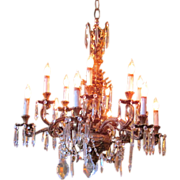 Vintage Chandelier Elaborate Brass & Crystal Circa 1930