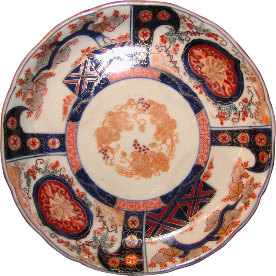 Set of 6 Antique Japanese Imari Plates circa 1840 Edo