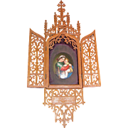 Italian Miniature Painting on Porcelain in Olivewood Frame 19th Century