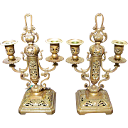 Pair Antique Gilt Bronze Candleabras Circa 1820 European