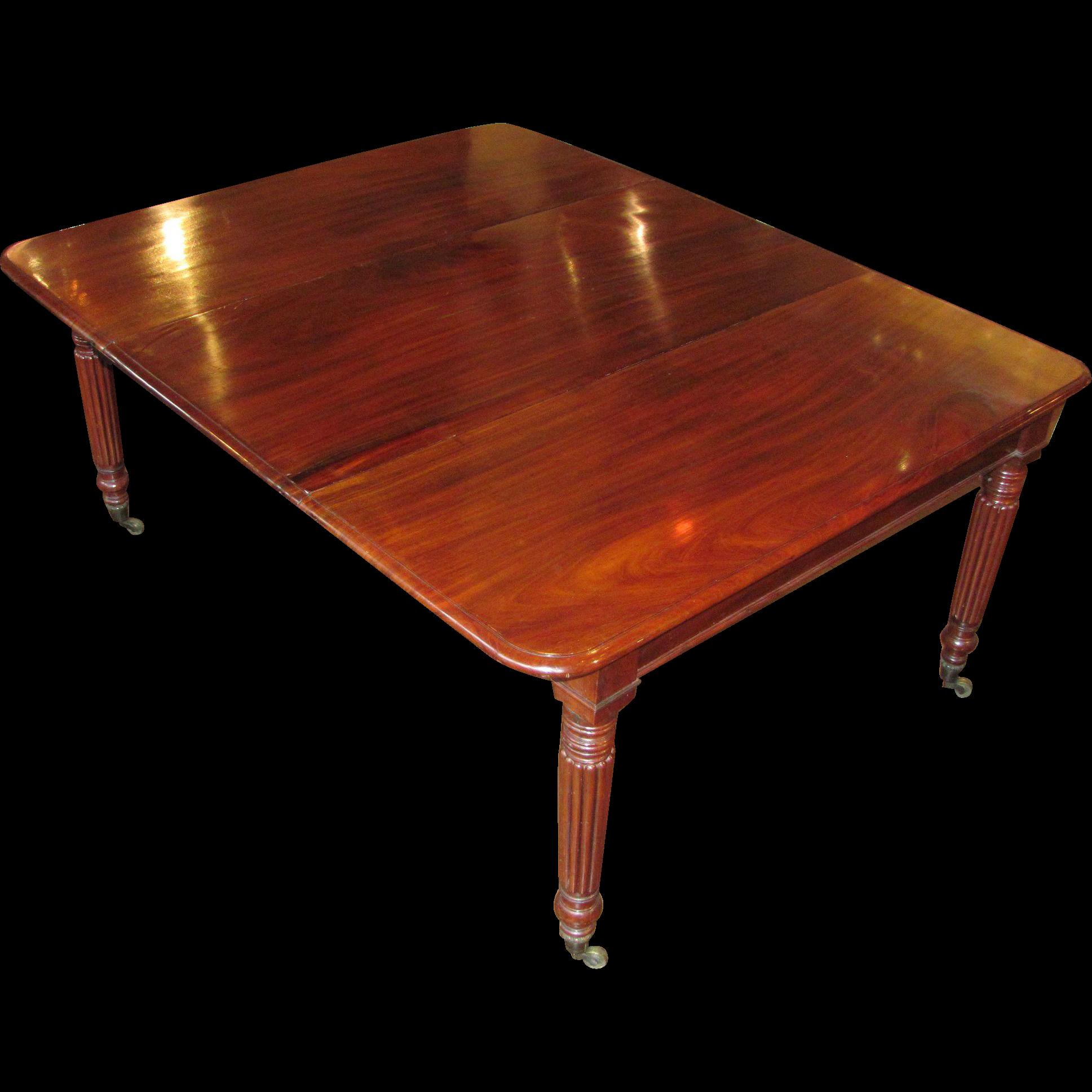 Antique English Sheraton Mahogany Dining Table Circa 1835