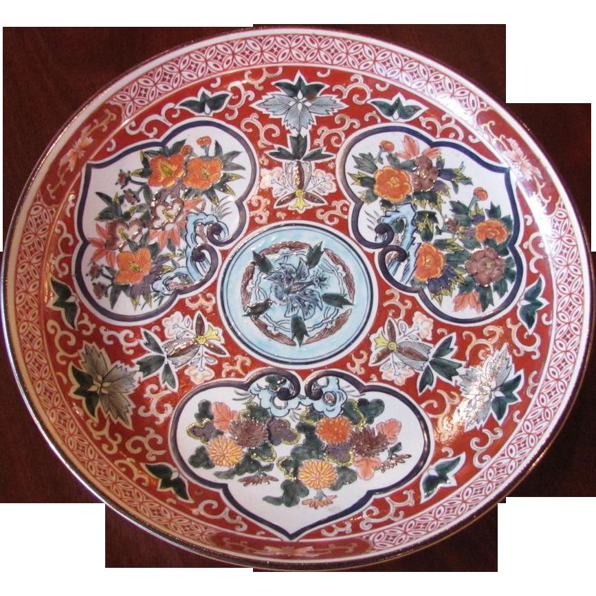 Large Antique Japanese Kutani Bowl Circa 1900 Meiji Period