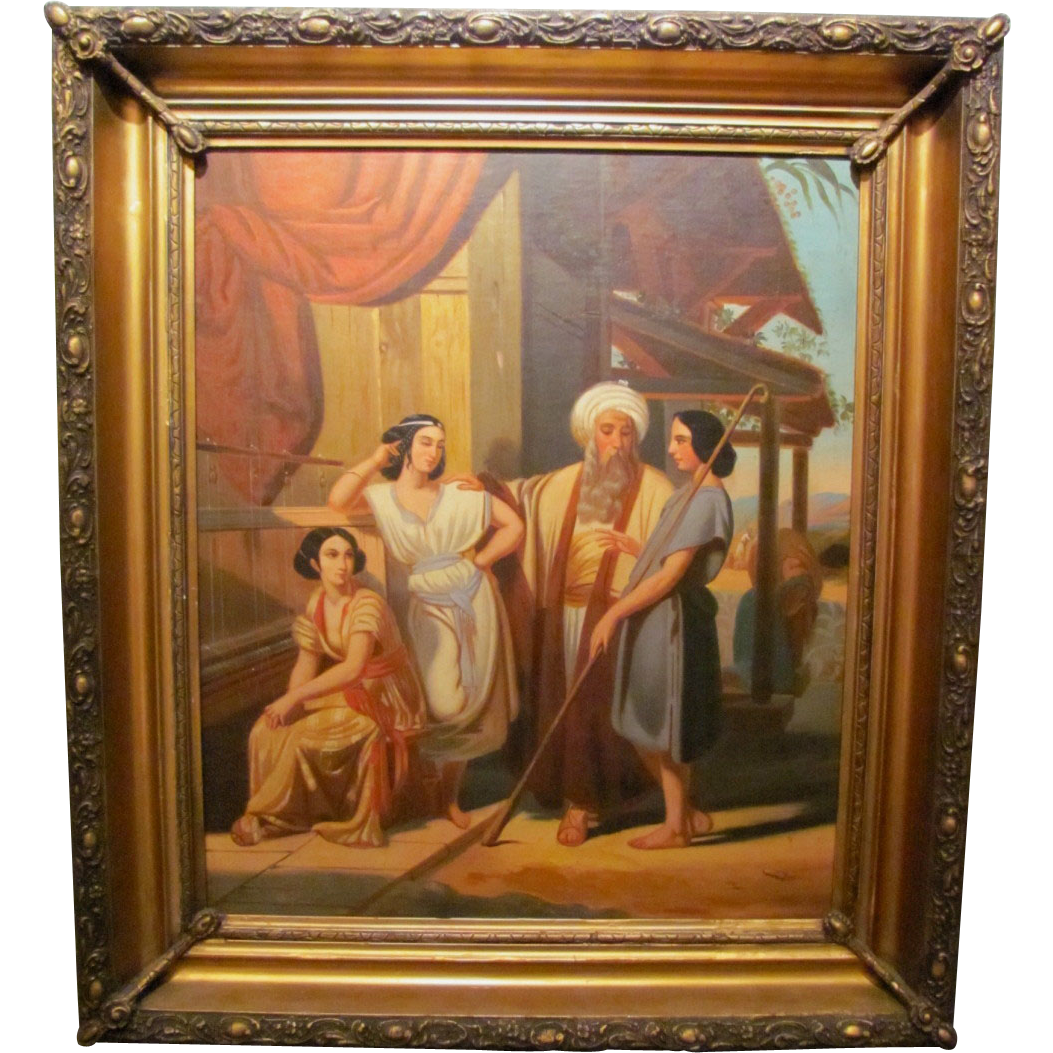 Antique Oil on Canvas Painting Biblical Scene Circa 1880