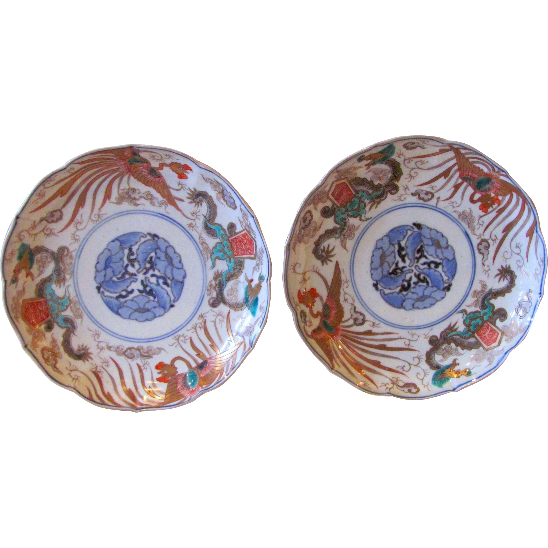 Pair of Antique Japanese Imari Plates Edo Period 19th Century