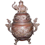 Large Antique Japanese Bronze Censer 19th Century