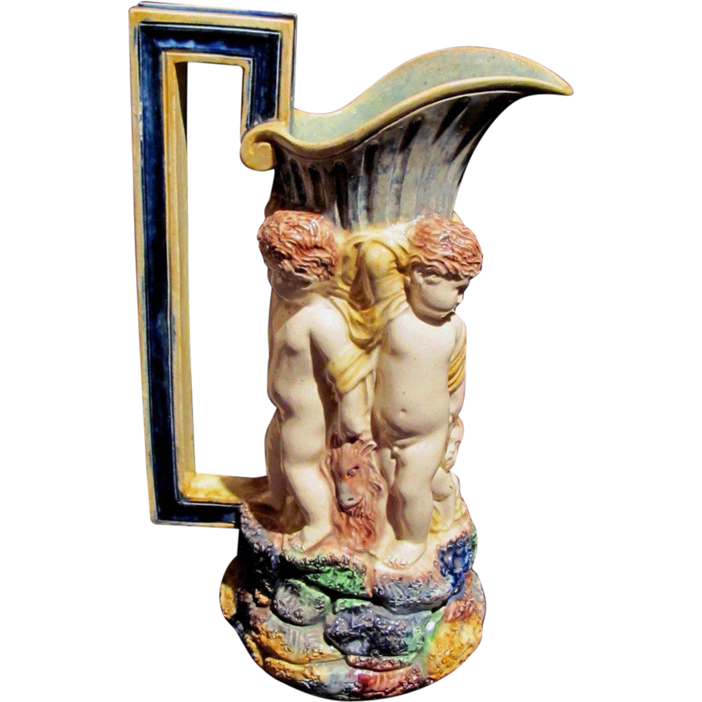 Antique Victorian Majolica Pitcher with Cherubs 19th Century