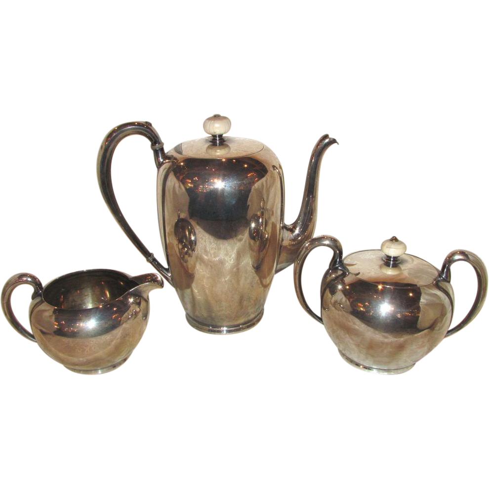 Antique American 3 Piece Silverplate Coffee Service Circa 1920