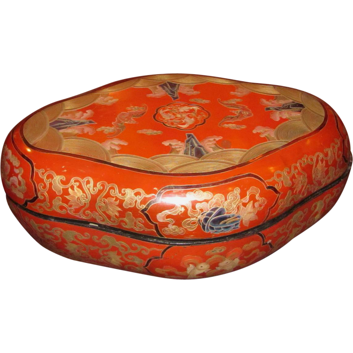 Chinese Rebublic Period Red Lacquer Box Circa 1920