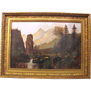 American Primitive School OIl on Canvas Painting Circa 1880