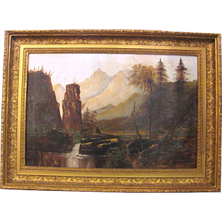 American Primitive School OIl on Canvas Painting Circa 1880