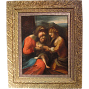 Antique Oil on Canvas Painting after Correggio 18th Century