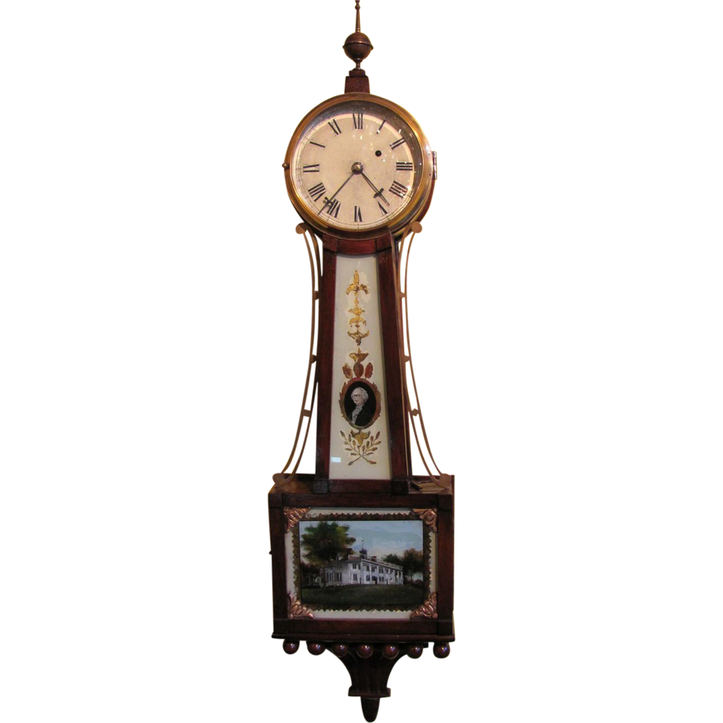 Antique American Mahogany Case Banjo Clock 8 Day 19th Century