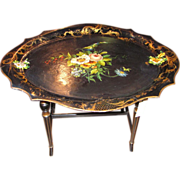 Antique Victorian Hand Painted Papier Mache Tray Table Circa 1850