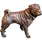 Signed Bronze Dog Shar Pei
