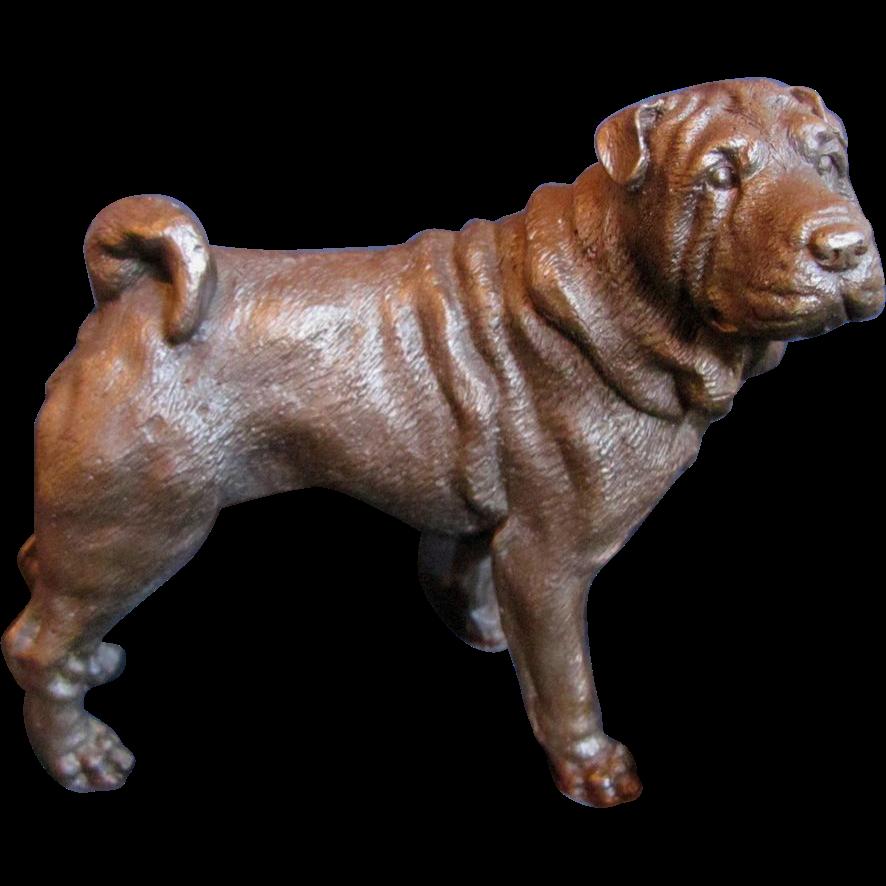 Signed Bronze Dog Shar Pei