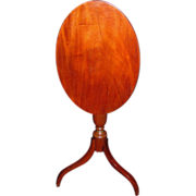 Antique American Federal Mahogany Tilt Top Candle Stand Circa 1810