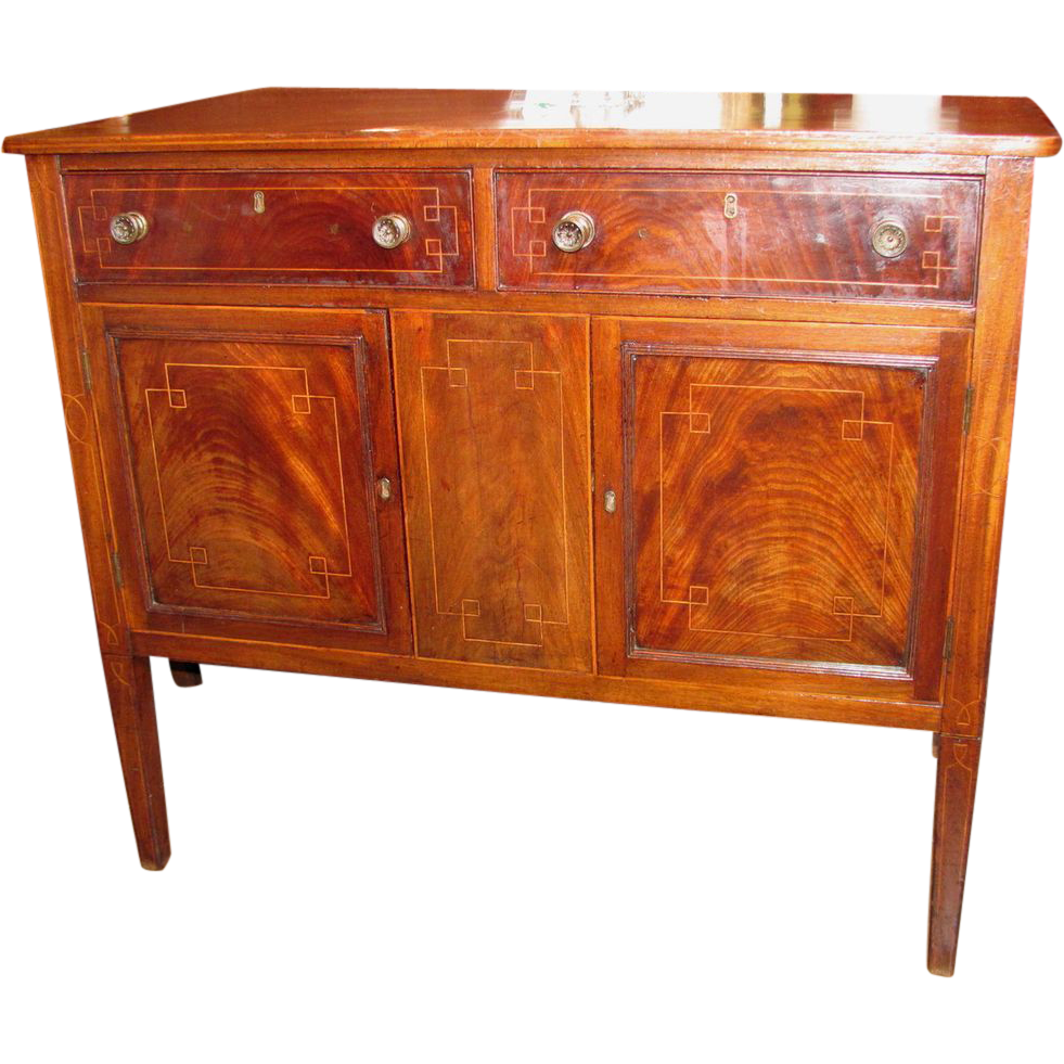 Antique English Georgian Style Mahogany Side Server Inlaid 19th Century