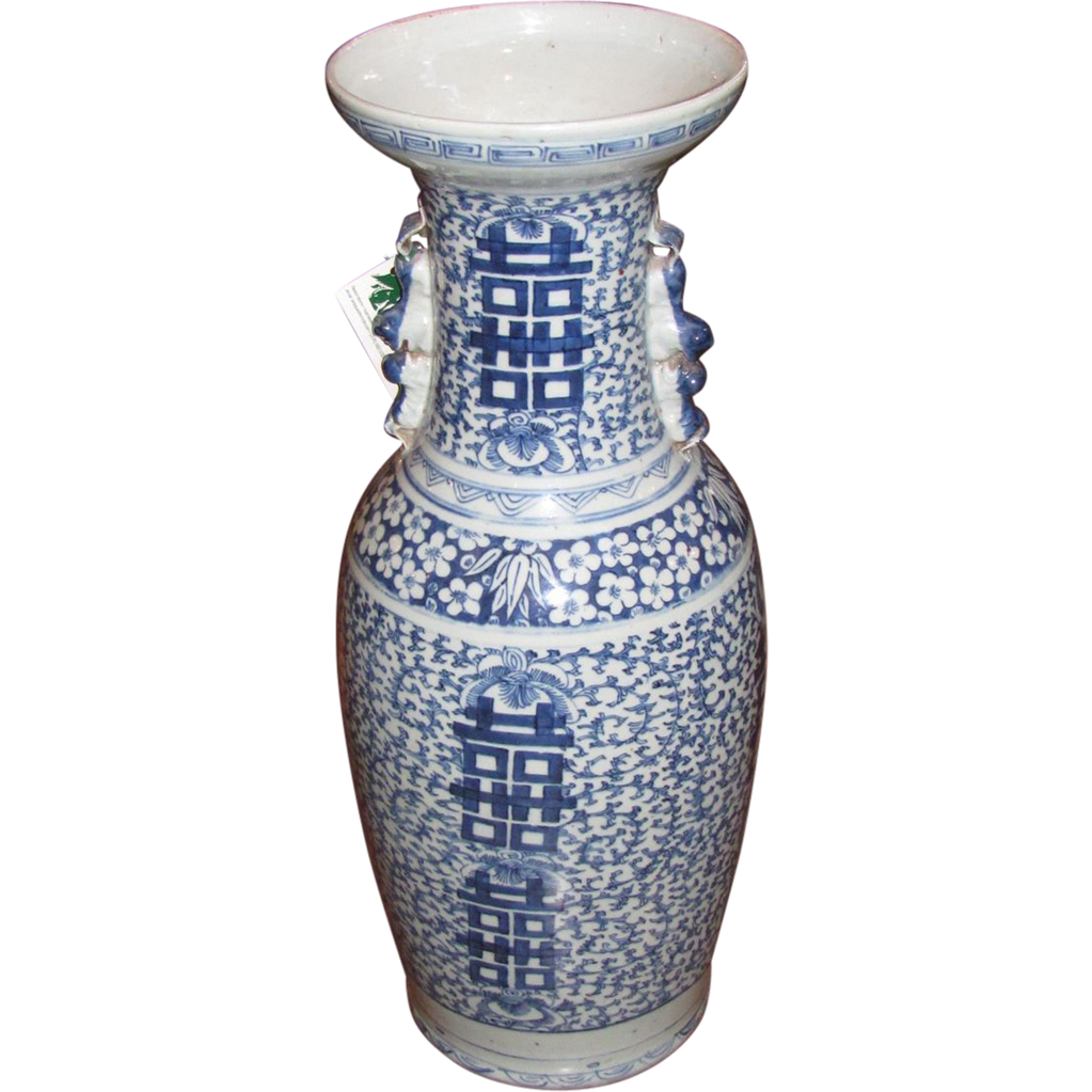 Large Antique Chinese Blue and White Vase 19th Century