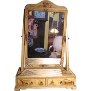 Antique English Chinoisserie Hand Painted Dressing Mirror Circa 1900