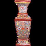 Antique Chinese Republic Period Famille Rose Vase Circa 1930