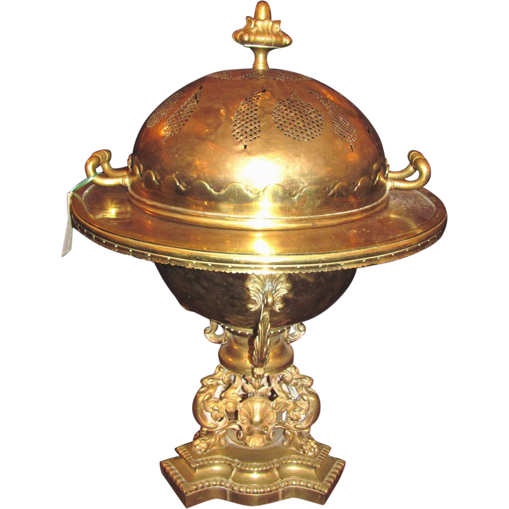 Antique French Brass Brule Parfume or Cassolette Circa 1830