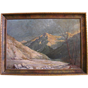 Antique W. Ericksen Oil on Canvas Painting Circa 1920