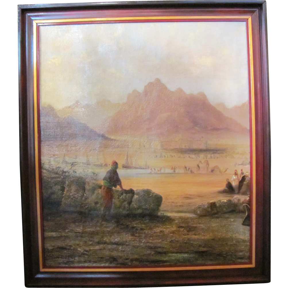 Antique Oil On Canvas Painting Signed M. Hunt Dated 1889