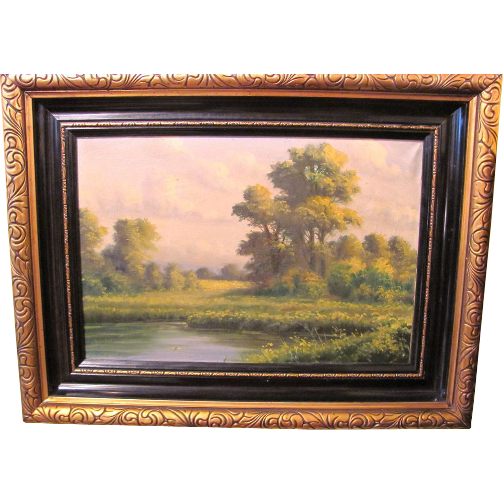 Vintage 20th Century Oil On Canvas Painting Continental
