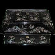 Antique English Colonial Ebonized Jewelry Box MOP Inlay 19th Century