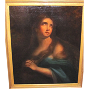 Antique Italian School Oil on Canvas Mary Magdalene 19th Century