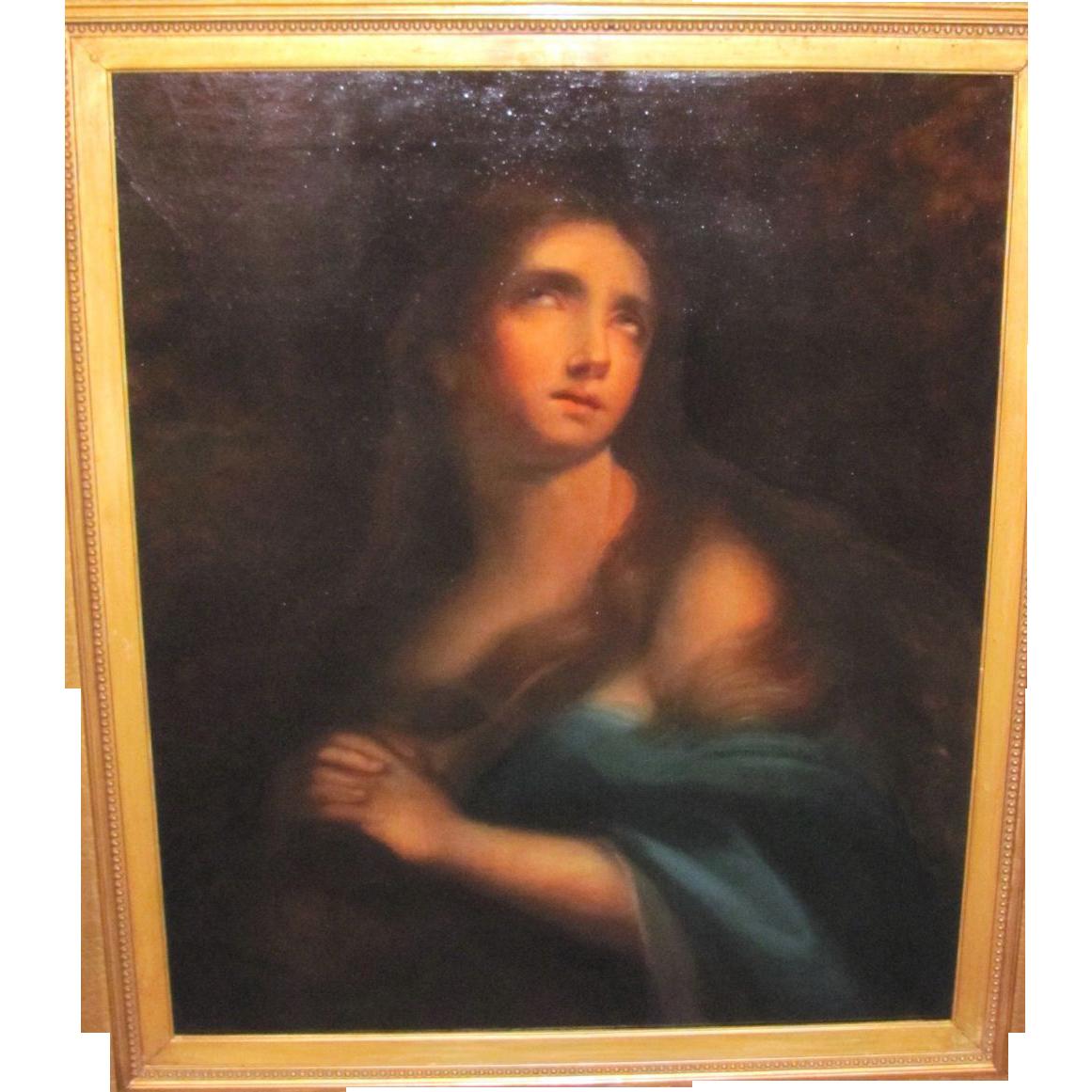 Antique Italian School Oil on Canvas Mary Magdalene 19th Century
