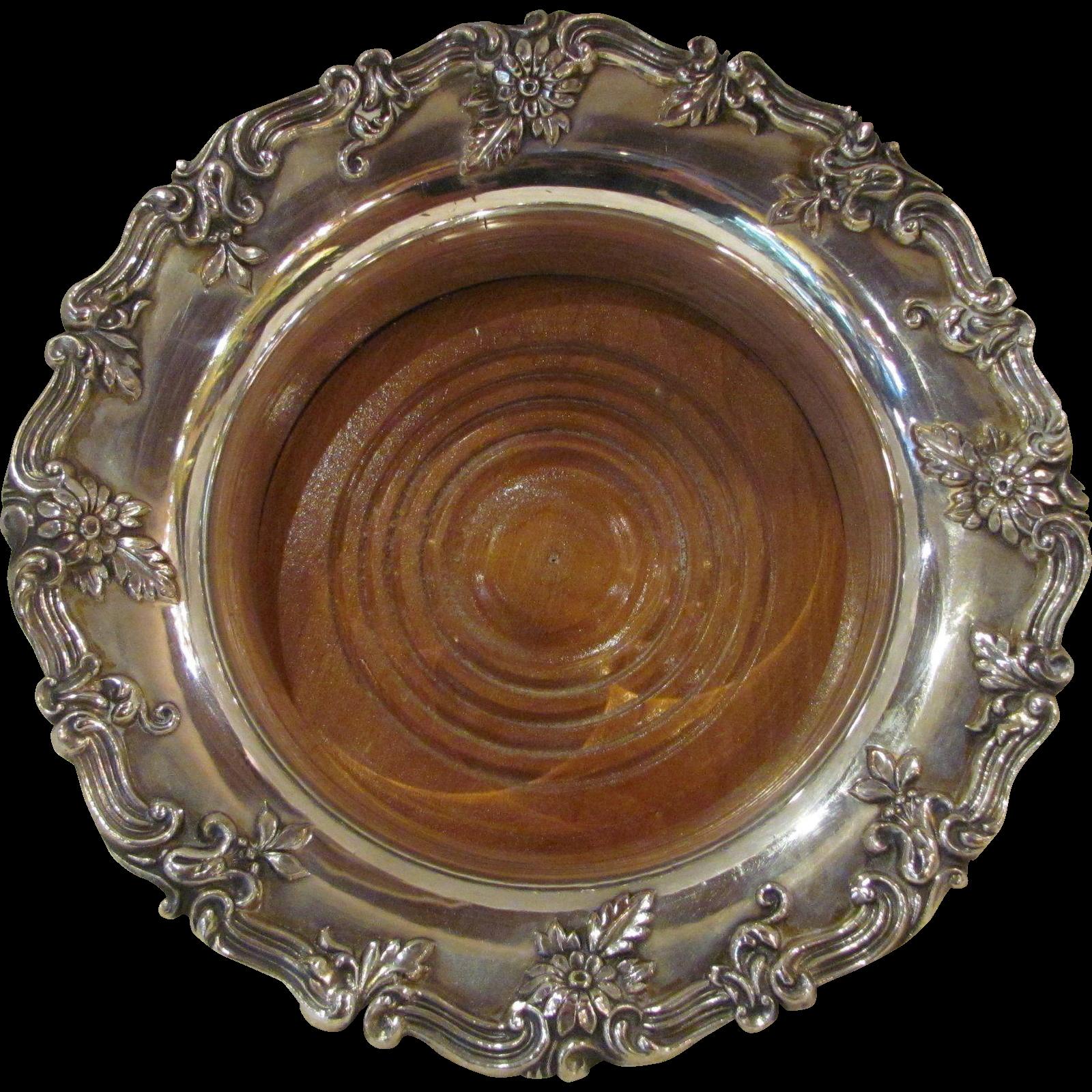 Vintage English Silverplate Wine Coaster 20th Century